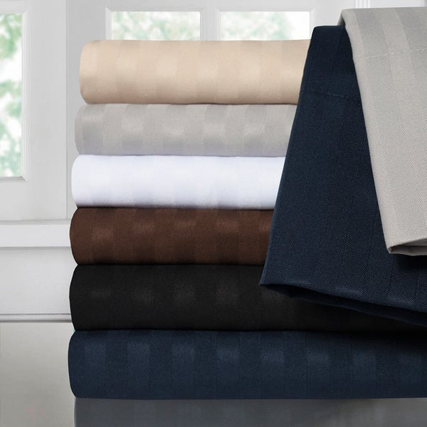 Sweet Home Collection Luxury Dobby Striped Double Brushed 4-Piece Sheet Set