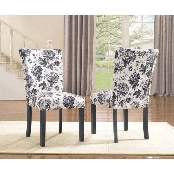 Sally upholstered grey flower print dining chair set of 2 for Printed upholstered dining chairs