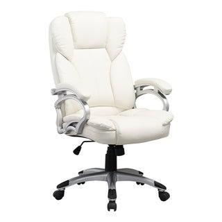 Executive White Leatherette Office Chair