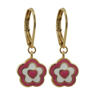 Luxiro Gold Finish Children's Pink Enamel Heart Flower Dangle Earrings