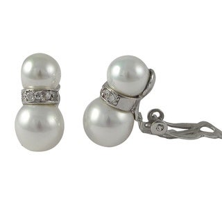 Luxiro Sterling Silver Cubic Zirconia Freshwater Pearl Clip-on Earrings