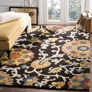 Safavieh Handmade Blossom Charcoal/ Multi Wool Rug (4' x 6')