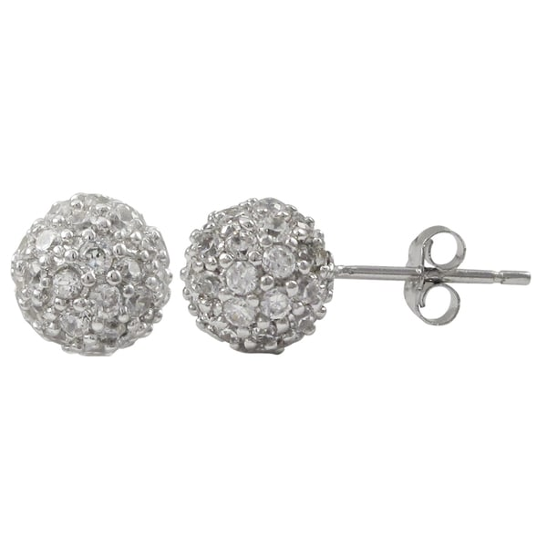 a4bbdb214 Luxiro Sterling Silver Pave Cubic Zirconia Ball Stud Earrings. Click to Zoom