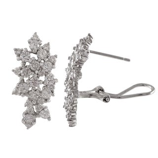 Luxiro Sterling Silver Gold Finish Cubic Zirconia Cluster Earrings