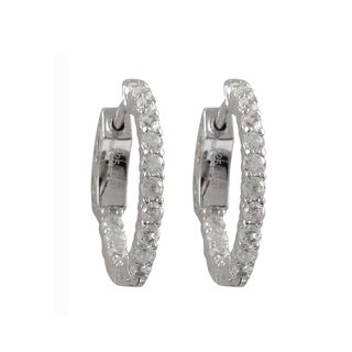 Luxiro Sterling Silver Rhodium or Gold Finish Cubic Zirconia 20-mm Hoop Earrings
