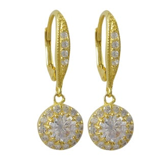 Luxiro Sterling Silver Gold Finish Cubic Zirconia Circle Dangle Earrings