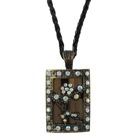 Luxiro Antique Gold Finish Brown Glass and Crystal Flower Pendant Necklace - Black
