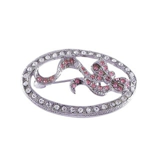 Luxiro Rhodium Finish Pink Crystals Ribbon Oval Pin Brooch