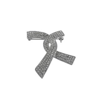 Luxiro Rhodium Finish Crystals Ribbon Tie Pin Brooch