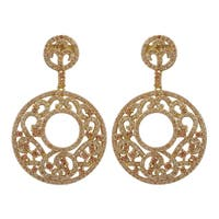 Luxiro Gold Finish Sterling Silver Cubic Zirconia Filigree Circle Dangle Earrings