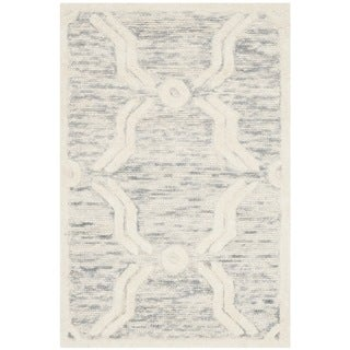Safavieh Handmade Cambridge Light Grey/ Ivory Wool Rug (2' x 3')