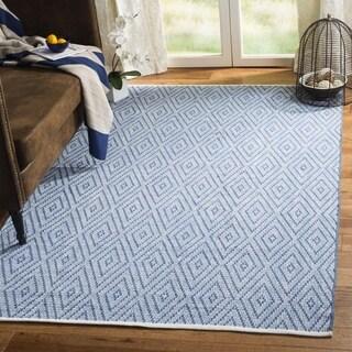 Safavieh Hand-Woven Montauk Blue/ Ivory Cotton Rug (5' x 7')