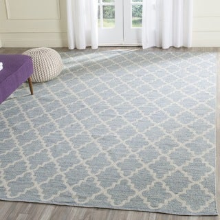 Safavieh Hand-Woven Montauk Light Blue/ Ivory Cotton Rug (5' x 7')