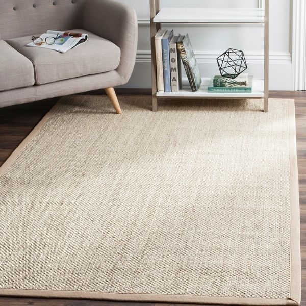 Safavieh Casual Natural Fiber Marble/ Ivory Linen Sisal Area Rug - 6' x 9'
