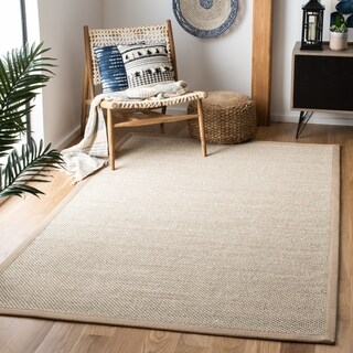 Safavieh Casual Natural Fiber Marble/ Ivory Linen Sisal Area Rug (5' x 8')