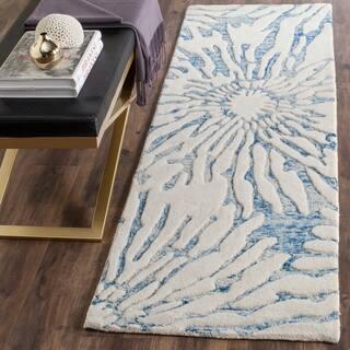 Safavieh Handmade Bella Tilda Modern Floral Wool Rug (23 x 7 Runner - Dark Blue/Ivory)