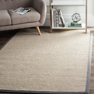 Safavieh Casual Natural Fiber Marble/ Dark Grey Sisal Area Rug (6' x 9')