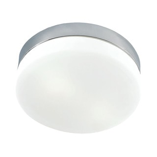 Alico Disc LED 1 Light Flush mount In Metallic Grey And White Opal Glass - Medium