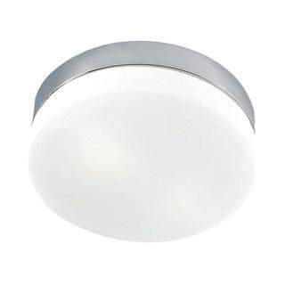 Alico Disc LED 1 Light Flush mount In Metallic Grey And White Opal Glass - Mini