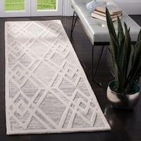 "Safavieh Handmade Cambridge Modern Grey/ Ivory Wool Rug - 2'6"" x 8'"