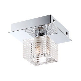 Alico Quatra 1 Light Flush mount In Chrome And Clear Glass