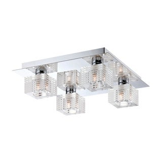 Alico Quatra 4 Light Flush mount In Chrome And Clear Glass
