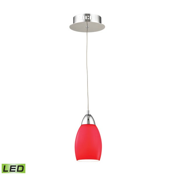Alico Buro 1 Light LED Pendant In Chrome With Red Glass