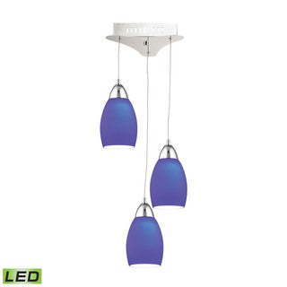 Alico Buro 3 Light LED Pendant In Chrome With Blue Glass