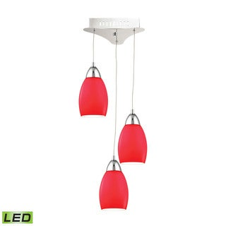 Alico Buro 3 Light LED Pendant In Chrome With Red Glass