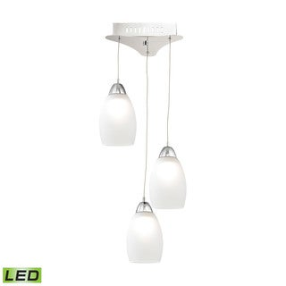 Alico Buro 3 Light LED Pendant In Chrome With White Glass