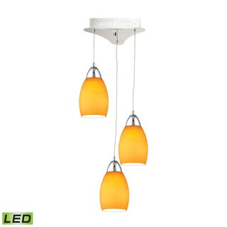 Alico Buro 3 Light LED Pendant In Chrome With Yellow Glass