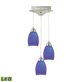 Alico Buro 3 Light LED Pendant In Satin Nickel With Blue Glass