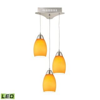 Alico Buro 3 Light LED Pendant In Satin Nickel With Yellow Glass
