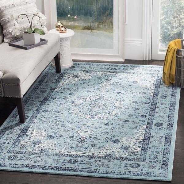 Safavieh Evoke Vintage Oriental Light and Dark Blue Distressed Rug (9' x 12') - 9' x 12'