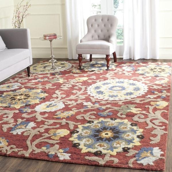 Safavieh Handmade Blossom Red/ Multi Wool Rug (8' x 10')