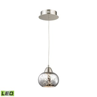 Alico Ciotola 1 Light LED Pendant In Satin Nickel With Mercury Glass