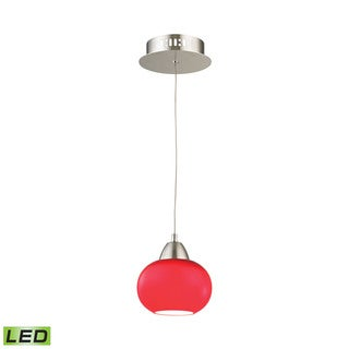 Alico Ciotola 1 Light LED Pendant In Satin Nickel With Red Glass