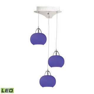 Alico Ciotola 3 Light LED Pendant In Chrome With Blue Glass