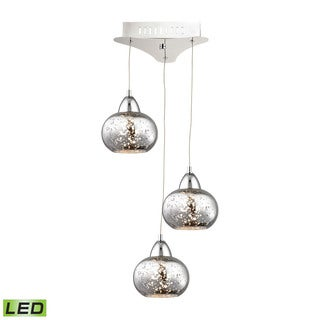 Alico Ciotola 3 Light LED Pendant In Chrome With Mercury Glass
