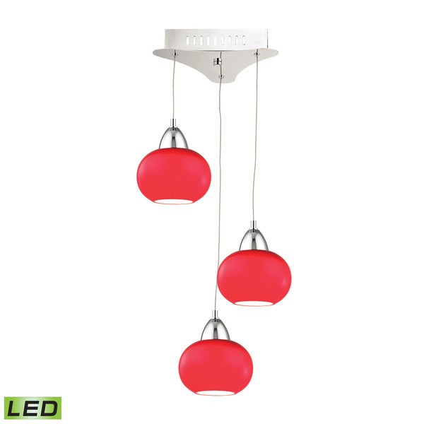 Alico Ciotola 3 Light LED Pendant In Chrome With Red Glass