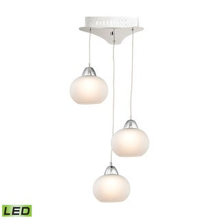 Alico Ciotola 3 Light LED Pendant In Chrome With White Glass