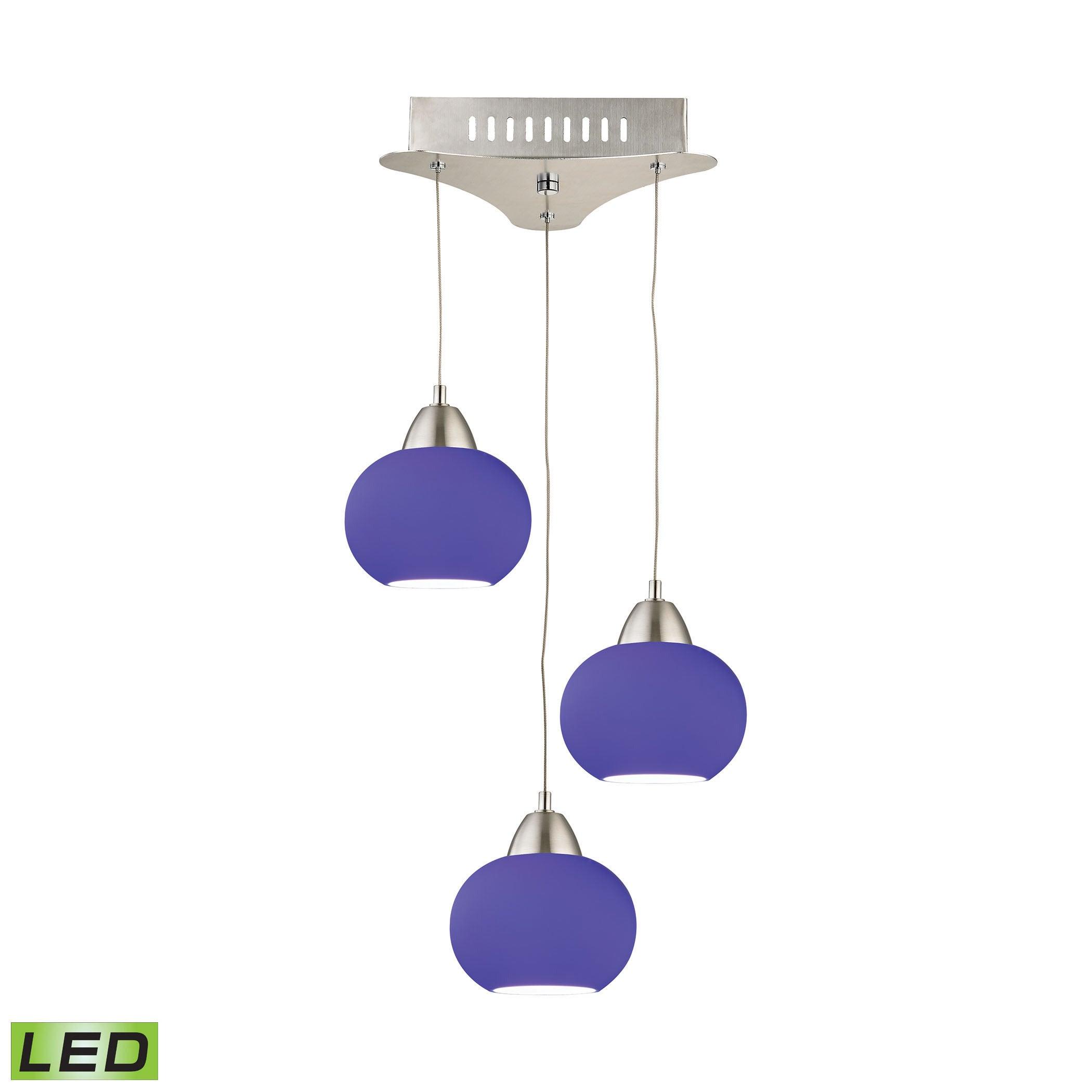 Satin Nickel Elk Lighting LCA403-7-16M Ciotola 3 Light LED Pendant with Blue Glass