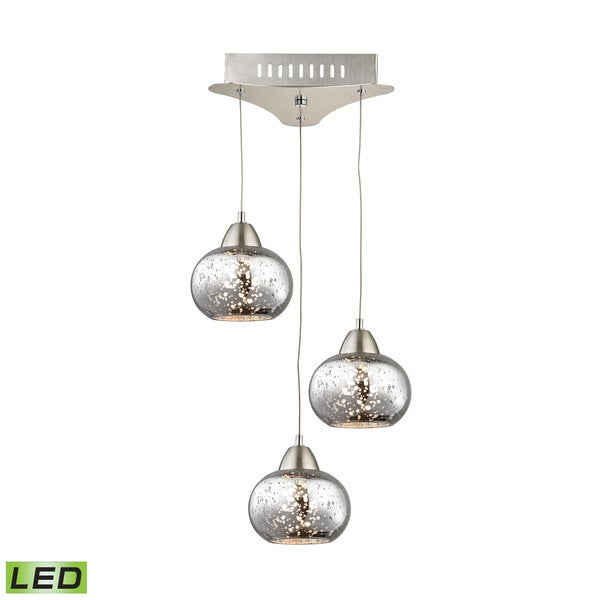 Alico Ciotola 3 Light Led Pendant In Satin Nickel With