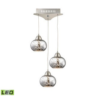 Alico Ciotola 3 Light LED Pendant In Satin Nickel With Mercury Glass