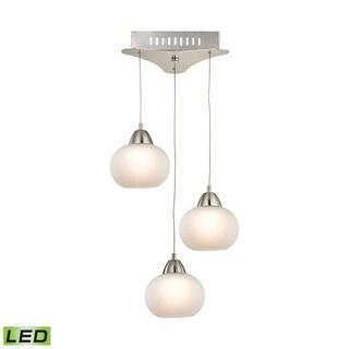 Alico Ciotola 3 Light LED Pendant In Satin Nickel With White Glass