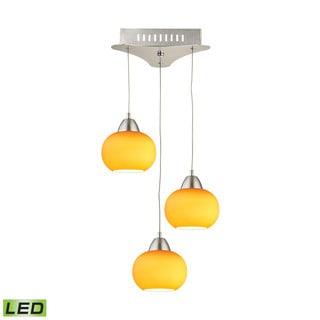 Alico Ciotola 3 Light LED Pendant In Satin Nickel With Yellow Glass