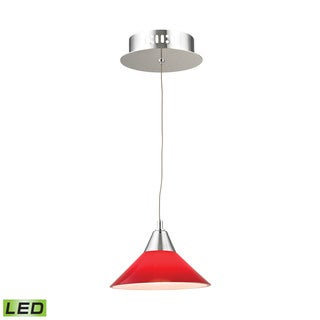 Alico Cono 1 Light LED Pendant In Chrome With Red Glass
