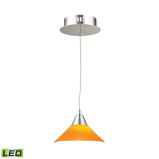 Alico Cono 1 Light LED Pendant In Chrome With Yellow Glass