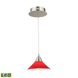 Alico Cono 1 Light LED Pendant In Satin Nickel With Red Glass