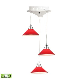 Alico Cono 3 Light LED Pendant In Chrome With Red Glass